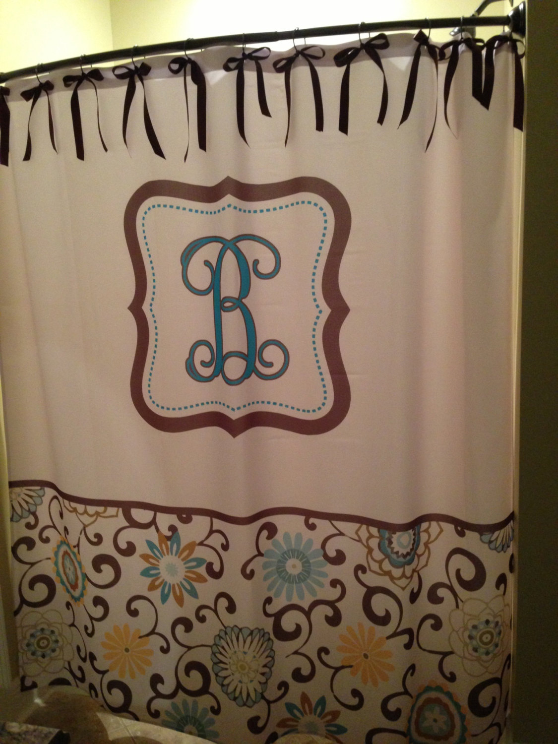 Adjustable Monogrammed Shower Curtain With Best Combination Color Design And Pattern Ideas