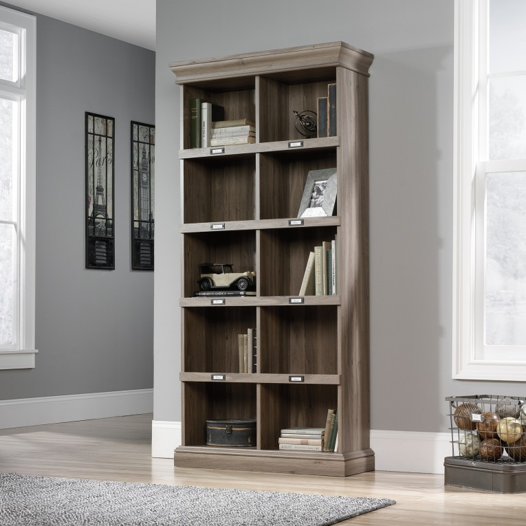 Adjustable Sauder Bookcases With Rugs And Laminate Flooring Plus Window Treatments For Living Room Ideas