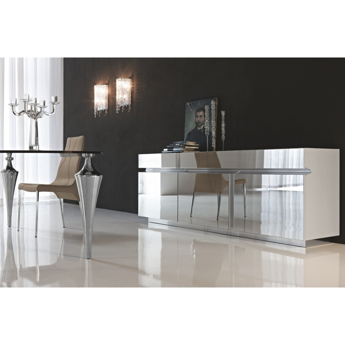 Admirable mirrored sideboard with knobs silver color and with decorative pattern design mirrored sideboard ideas
