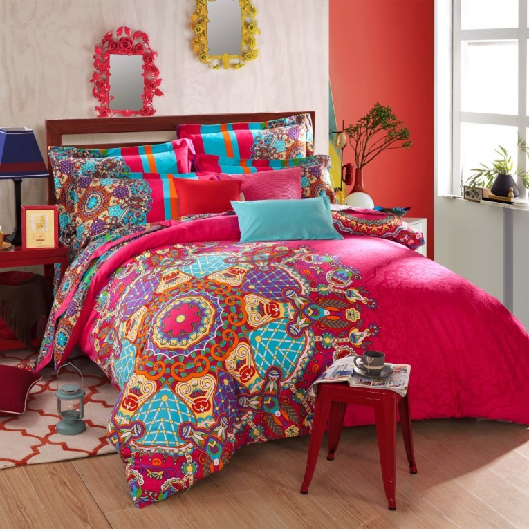 Adorable Queen And King Bed Size Bohemian Duvet Covers With Unique Pattern For Bed Room Furniture Ideas