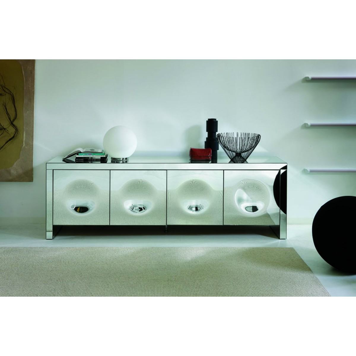 Adorable mirrored sideboard with knobs silver color and with decorative pattern design mirrored sideboard ideas
