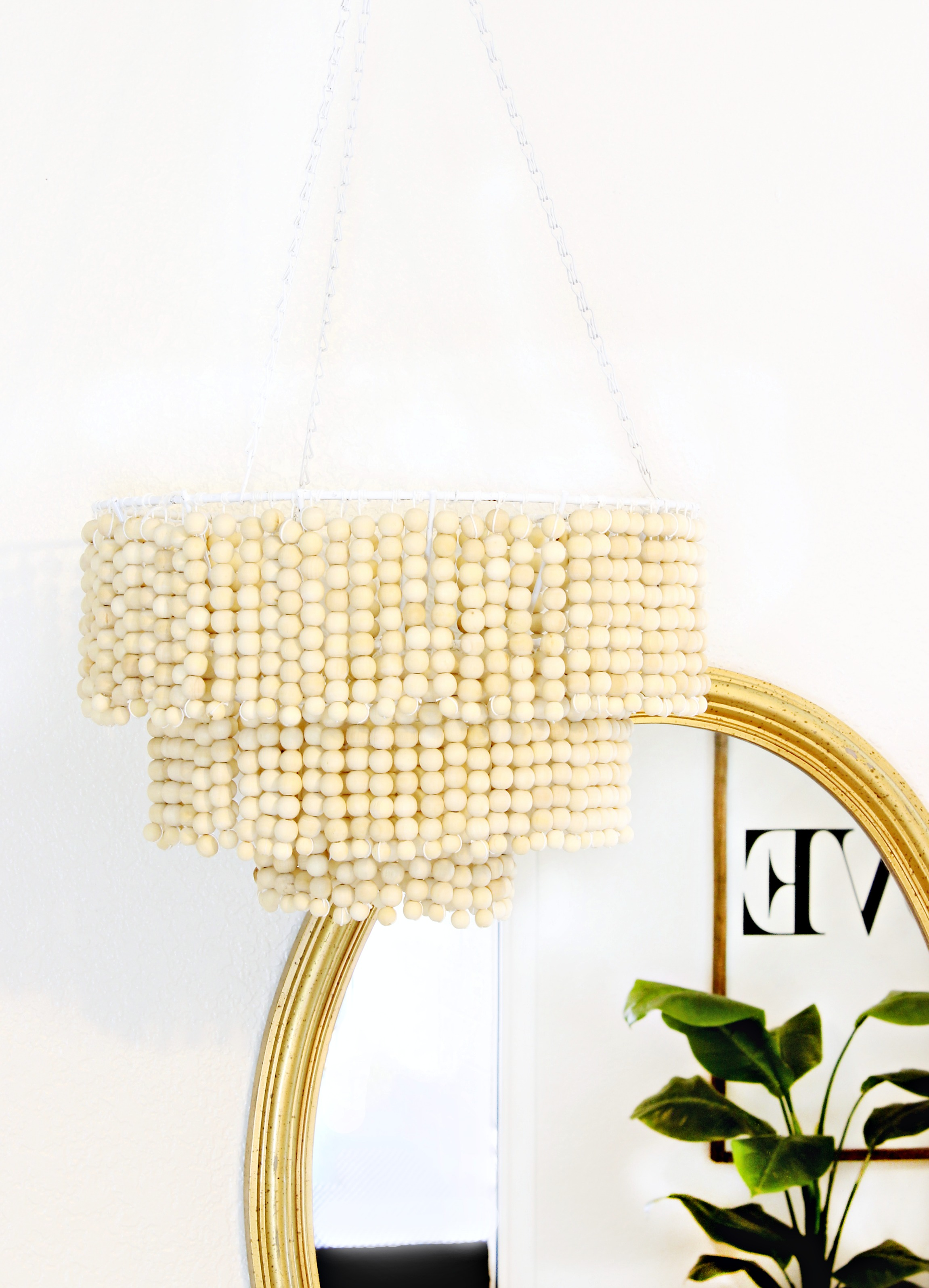 Adorable white wood bead chandelier with Ceiling Light Fixture Furnishing for living room Ideas