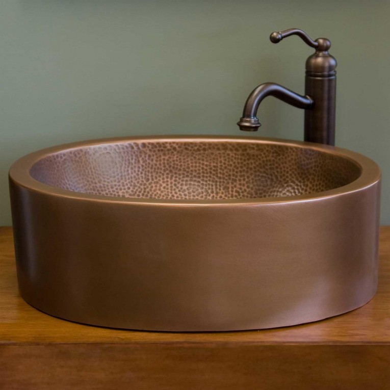 Alluring Copper Vessel Sinks With Towel And Faucets Plus Wastafel For Bathroom Ideas