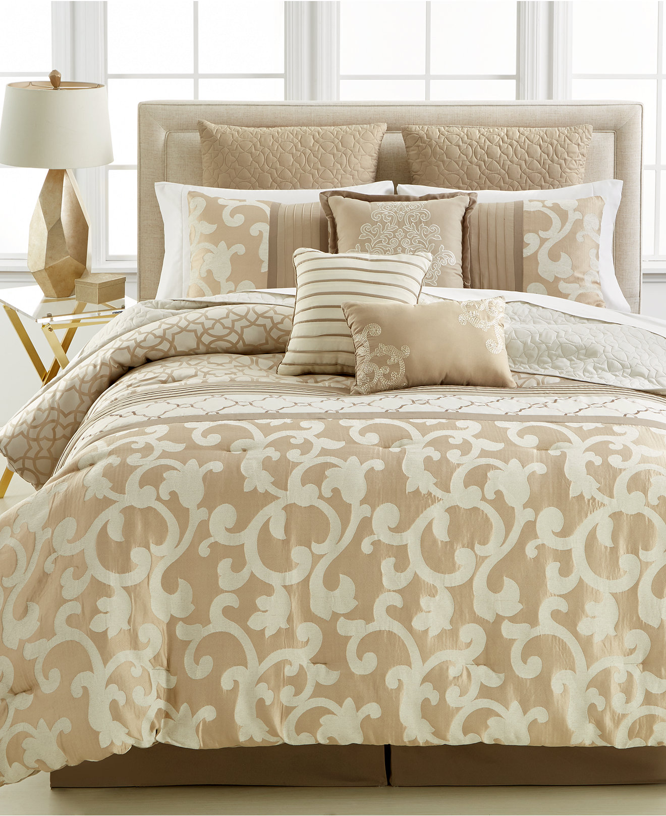 Alluring full comforter sets Bed queen size and king bedsize also pillows and cushion combined with headboards and curtains