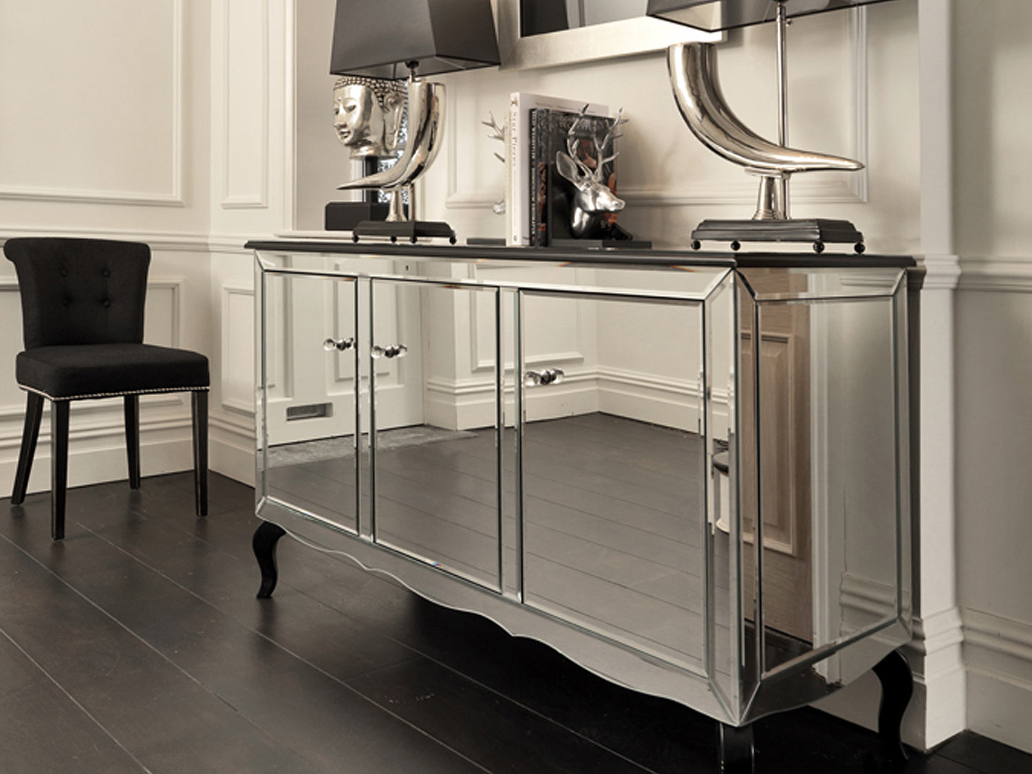 Alluring mirrored sideboard with knobs silver color and with decorative pattern design mirrored sideboard ideas
