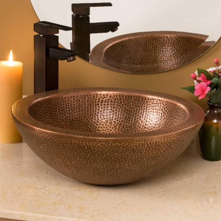 Amazing Copper Vessel Sinks With Towel And Faucets Plus Wastafel For Bathroom Ideas