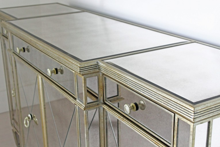 Amazing Mirrored Sideboard With Knobs Silver Color And With Decorative Pattern Design Mirrored Sideboard Ideas