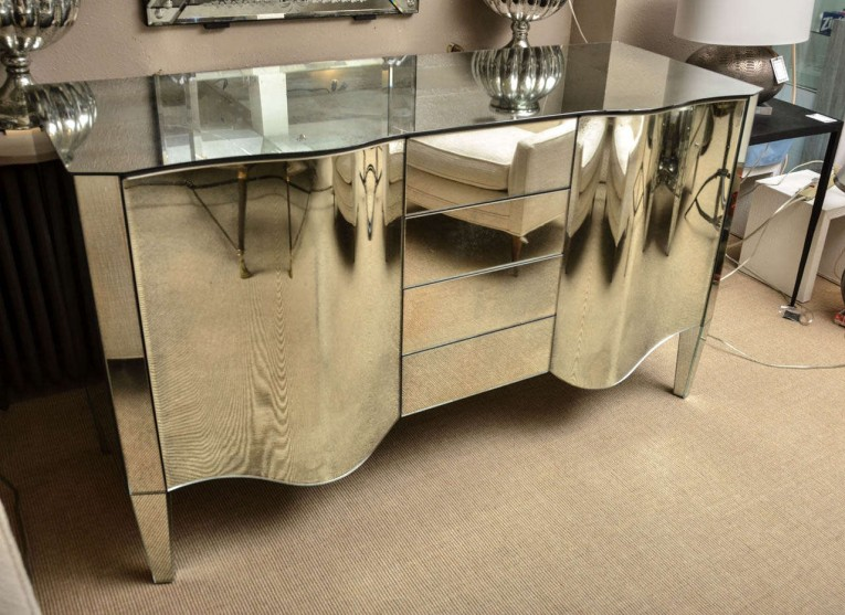 Amusing Mirrored Sideboard With Knobs Silver Color And With Decorative Pattern Design Mirrored Sideboard Ideas