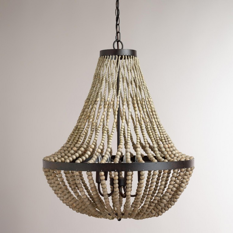 Amusing White Wood Bead Chandelier With Ceiling Light Fixture Furnishing For Living Room Ideas