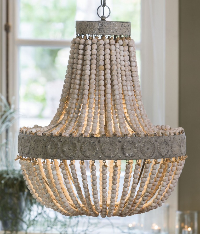 Appealing White Wood Bead Chandelier With Ceiling Light Fixture Furnishing For Living Room Ideas