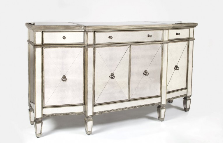 Astonishing Mirrored Sideboard With Knobs Silver Color And With Decorative Pattern Design Mirrored Sideboard Ideas