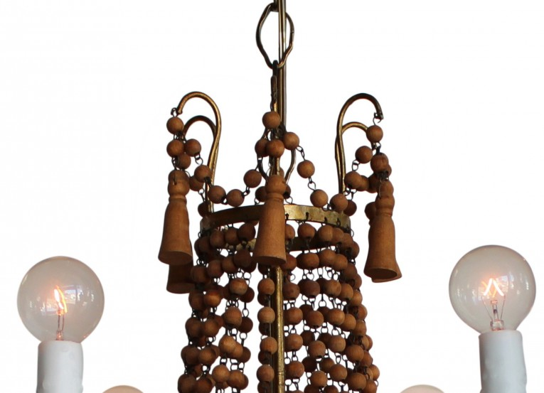 Astonshing White Wood Bead Chandelier With Ceiling Light Fixture Furnishing For Living Room Ideas