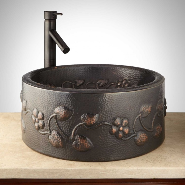 Astounding Copper Vessel Sinks With Towel And Faucets Plus Wastafel For Bathroom Ideas