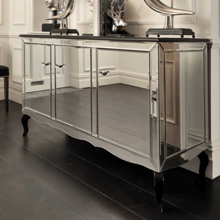 Astounding Mirrored Sideboard With Knobs Silver Color And With Decorative Pattern Design Mirrored Sideboard Ideas
