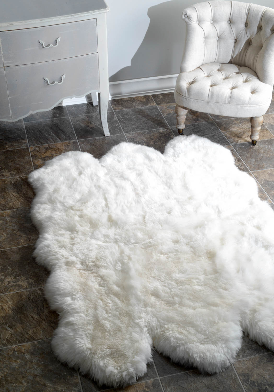 Astounding white fur rug with Best wooden laminate flooring and sofa chairs for living room Ideas