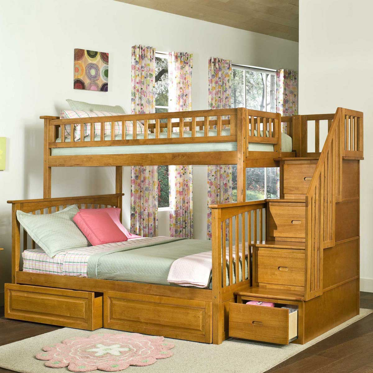 Attractive cheap bunk beds for kids with area rugs and laminate flooring combined with picture on the wall for kids bed room ideas