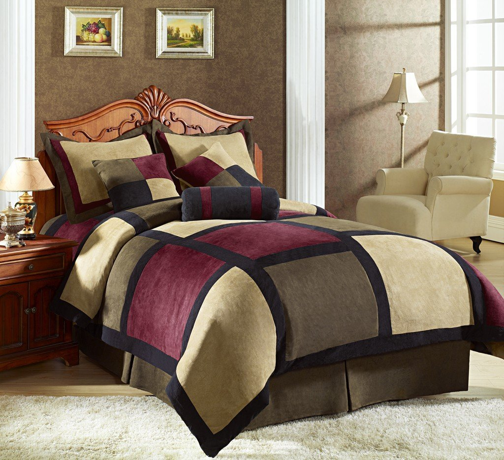 Attractive full comforter sets Bed queen size and king bedsize also pillows and cushion combined with headboards and curtains