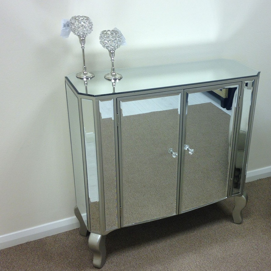 Attractive mirrored sideboard with knobs silver color and with decorative pattern design mirrored sideboard ideas