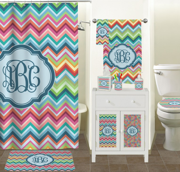 Awesome Pattern Monogrammed Shower Curtain With Best Combination Color Design And Pattern Ideas