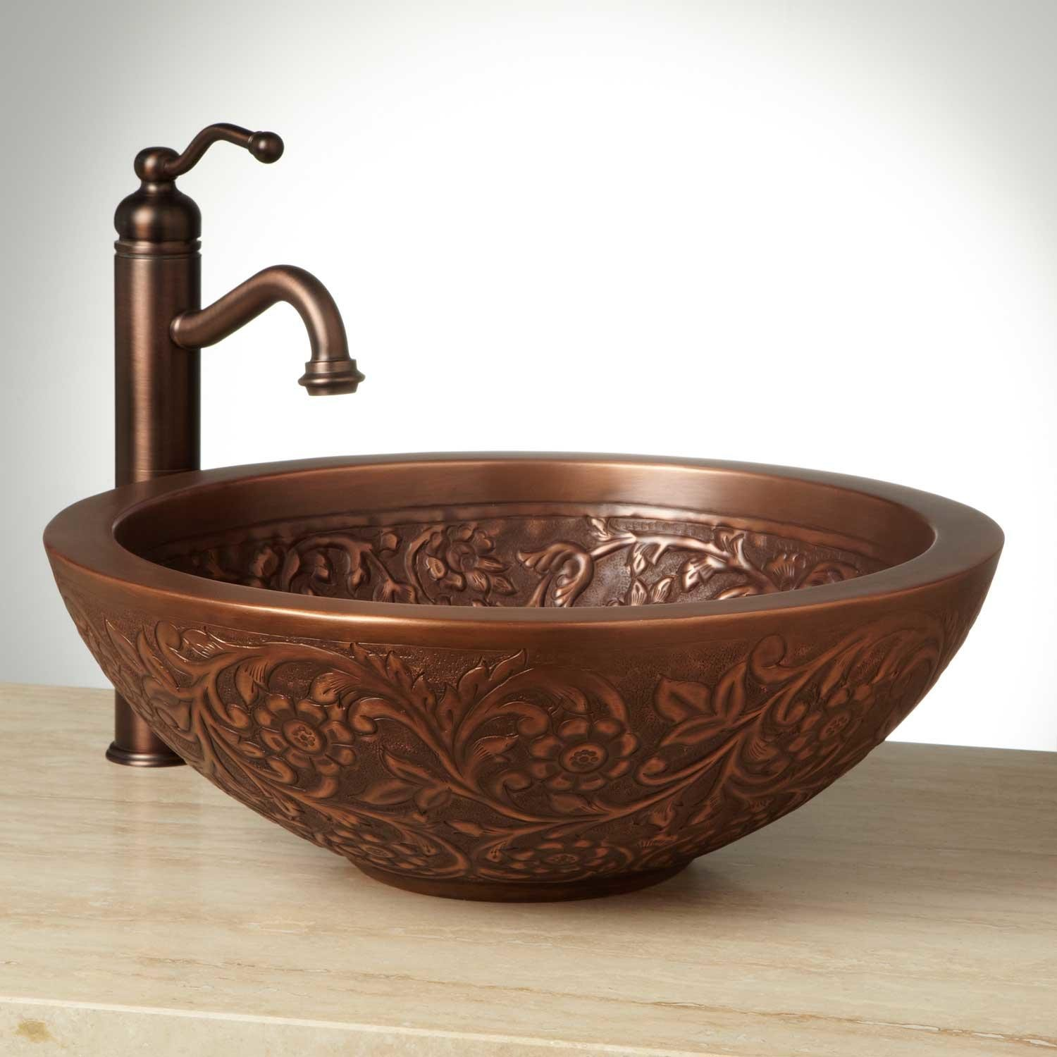 Awesome copper vessel sinks with towel and faucets plus wastafel for bathroom ideas