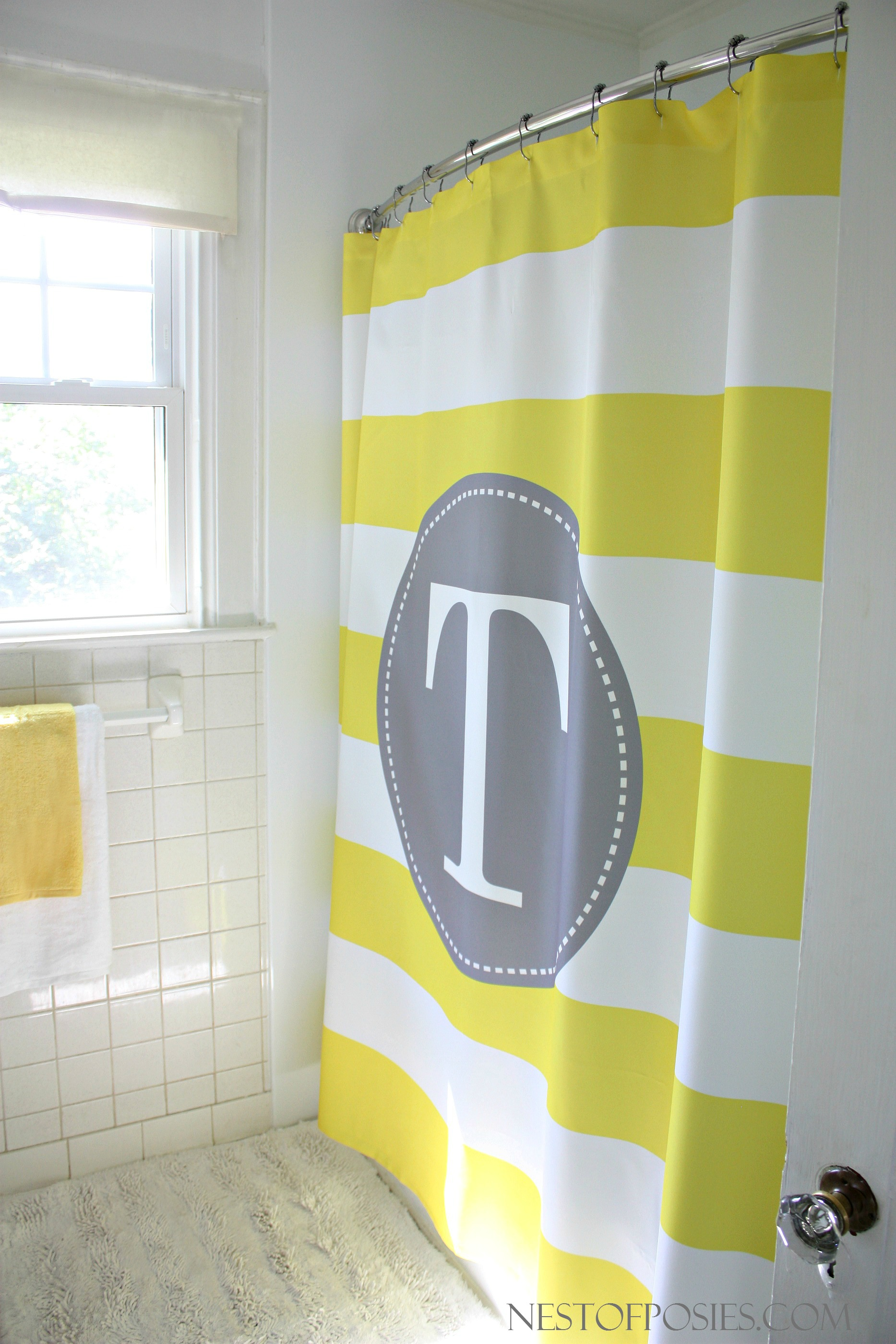Awesome Monogrammed Shower Curtain With Best Combination Color Design And Pattern Ideas