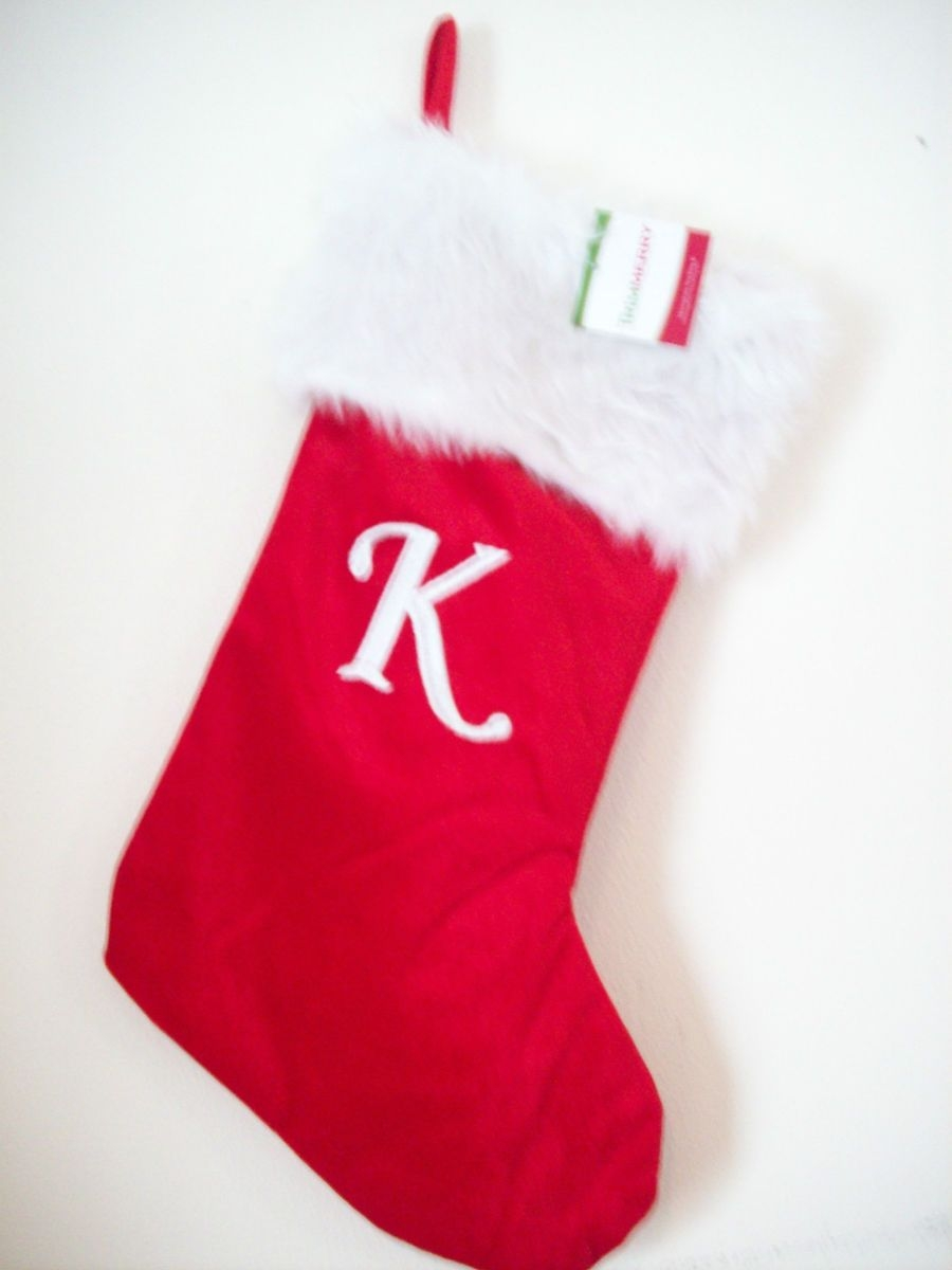 Awesome red christmas monogrammed stockings in the christmas display for living room ideas