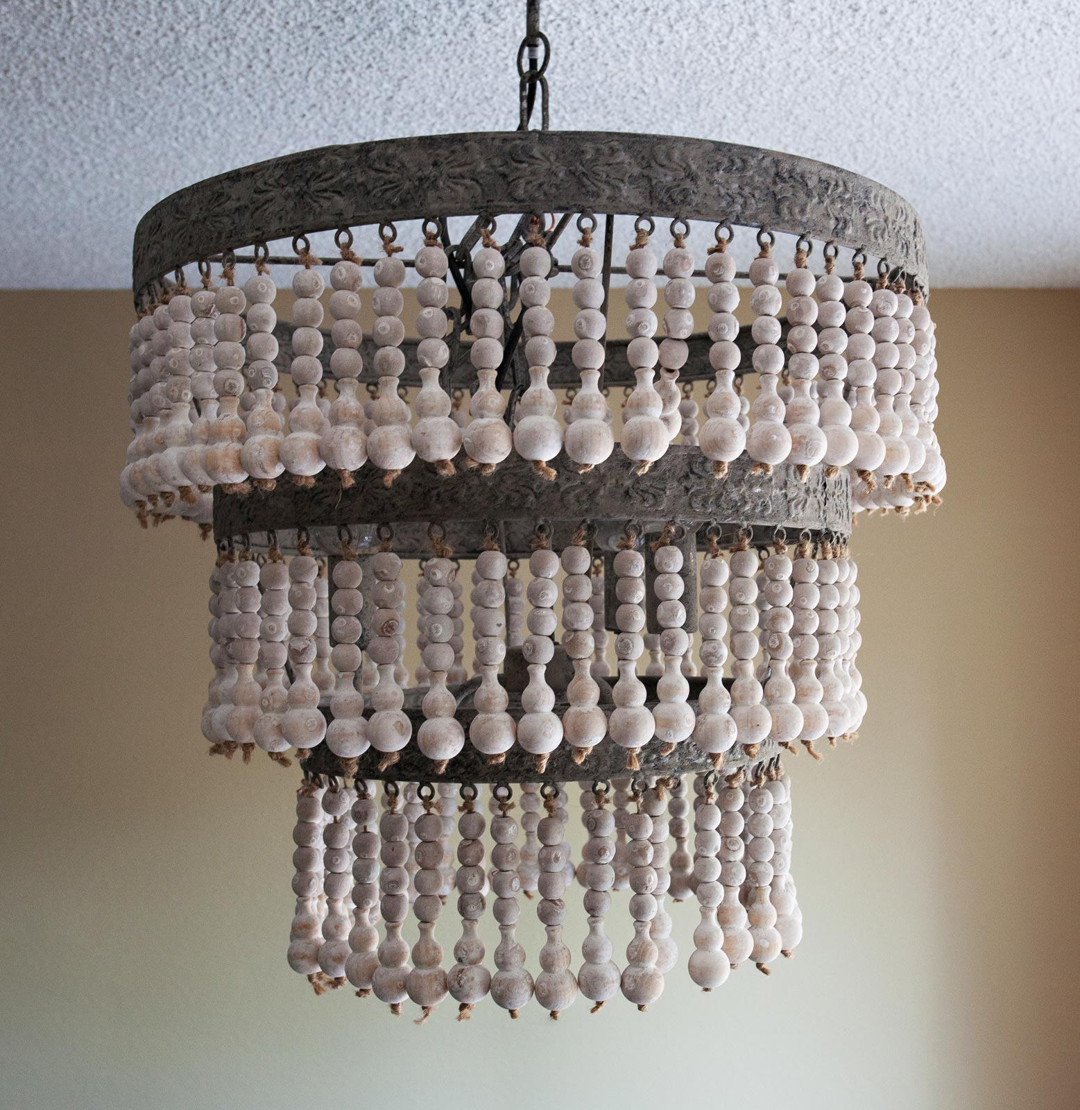 Awesome white wood bead chandelier with Ceiling Light Fixture Furnishing for living room Ideas