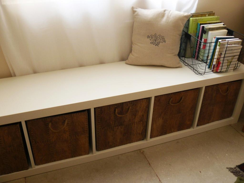 Awesome wooden fabric storage benches with wooden feet