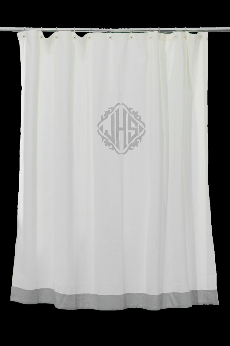 Beautiful And Charming Monogrammed Shower Curtain With Best Combination Color Design And Pattern Ideas