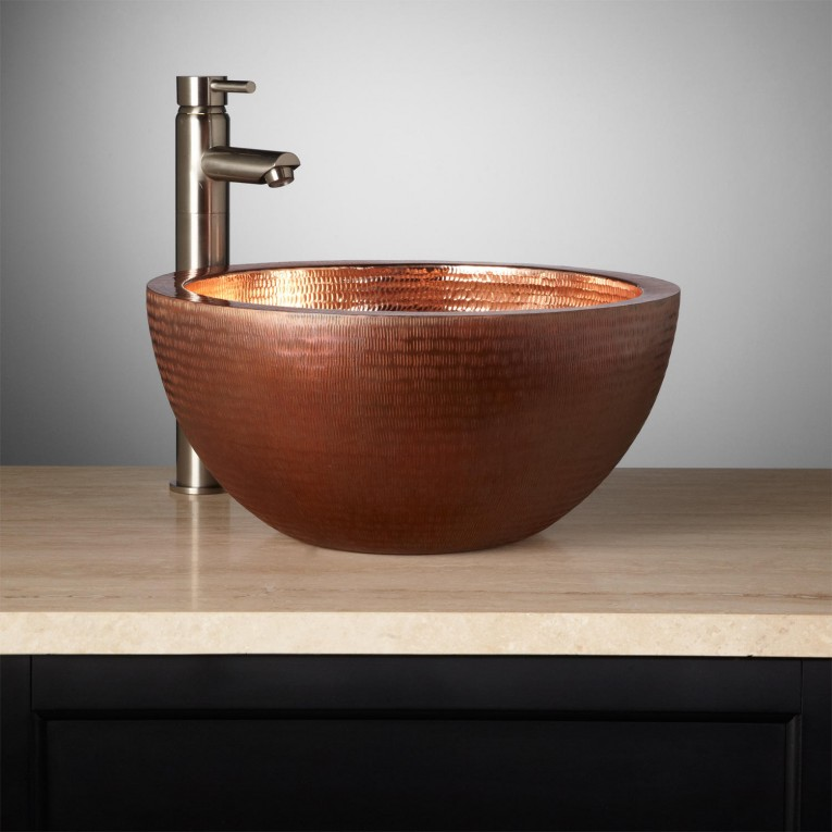 Beautiful Copper Vessel Sinks With Towel And Faucets Plus Wastafel For Bathroom Ideas