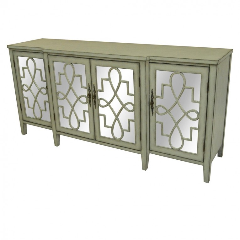 Beautiful Mirrored Sideboard With Knobs Silver Color And With Decorative Pattern Design Mirrored Sideboard Ideas