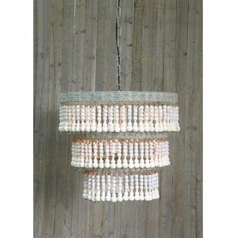 Beautiful White Wood Bead Chandelier With Ceiling Light Fixture Furnishing For Living Room Ideas