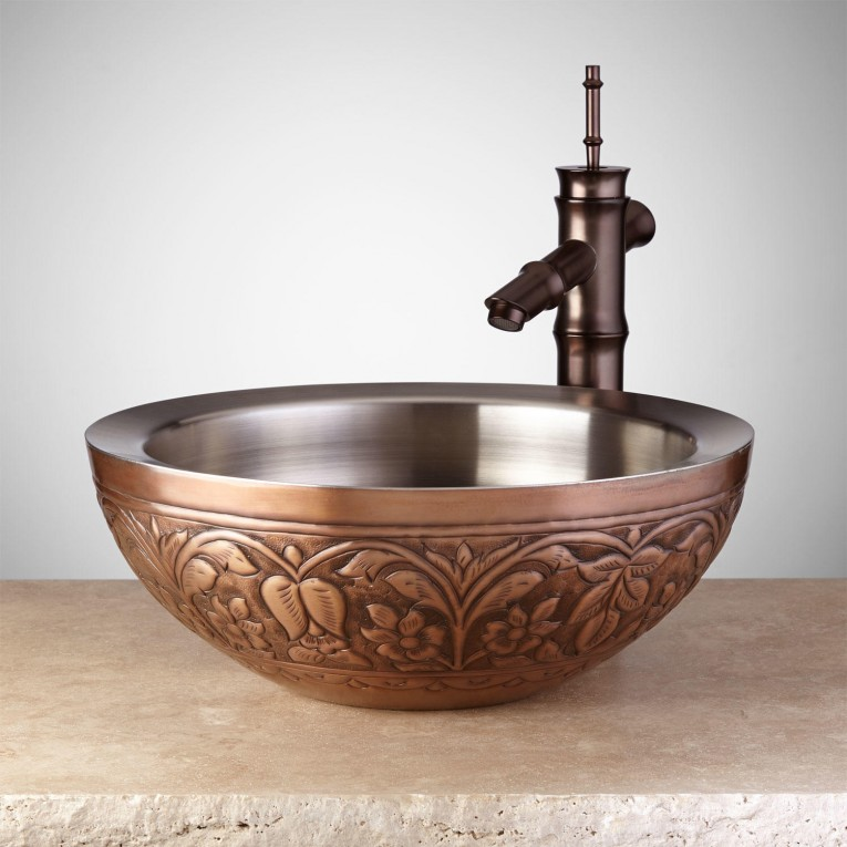 Best Copper Vessel Sinks With Towel And Faucets Plus Wastafel For Bathroom Ideas