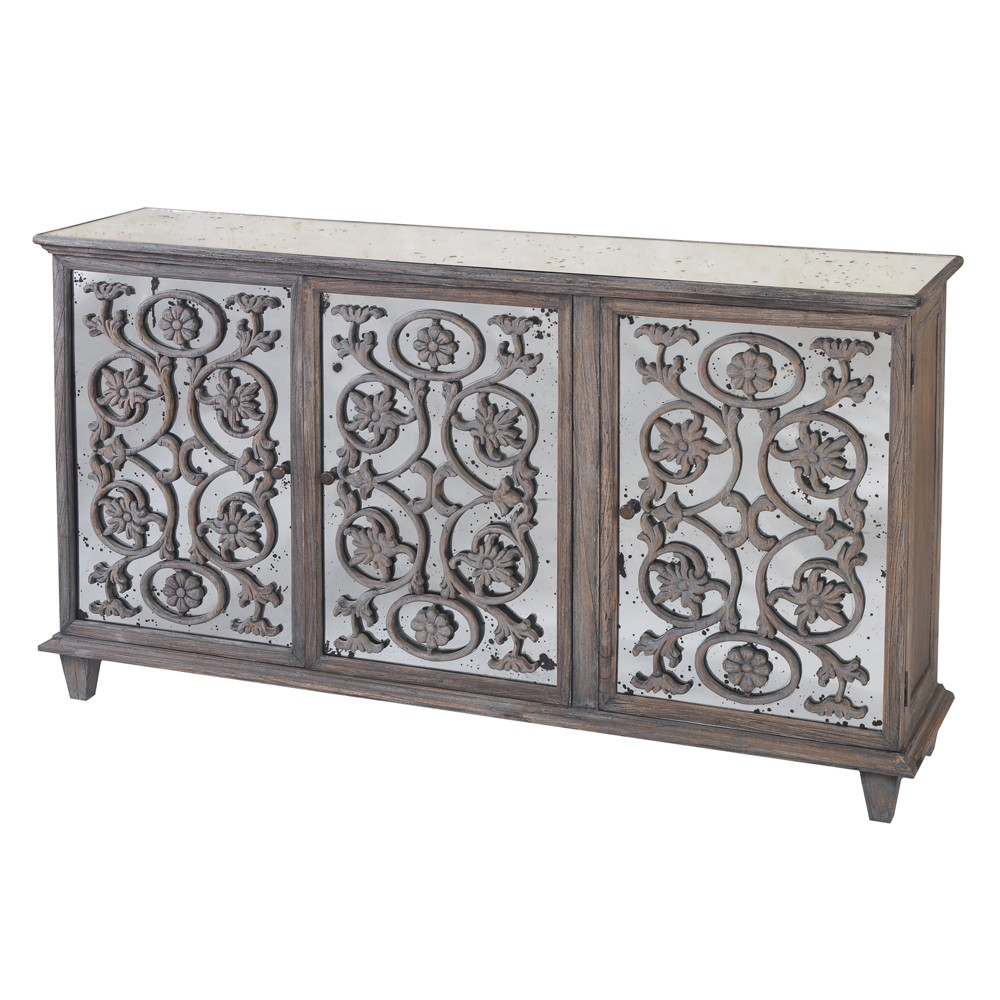 Best mirrored sideboard with knobs silver color and with decorative pattern design mirrored sideboard ideas