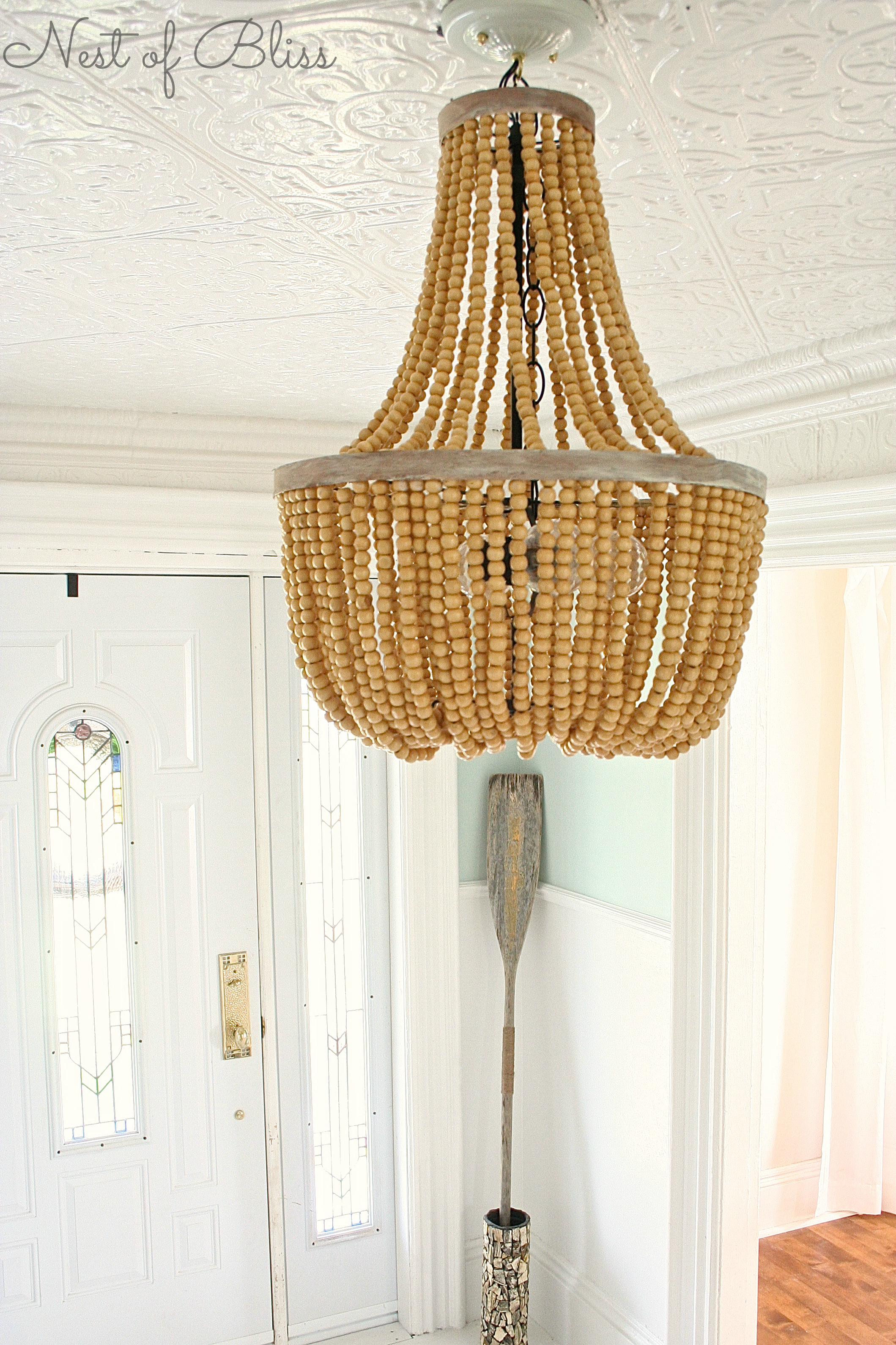 Breathtaking white wood bead chandelier with Ceiling Light Fixture Furnishing for living room Ideas