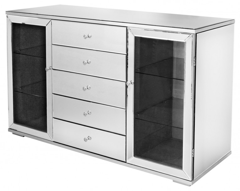 Brilliant Mirrored Sideboard With Knobs Silver Color And With Decorative Pattern Design Mirrored Sideboard Ideas