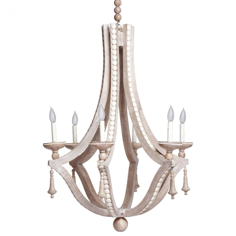 Brilliant White Wood Bead Chandelier With Ceiling Light Fixture Furnishing For Living Room Ideas