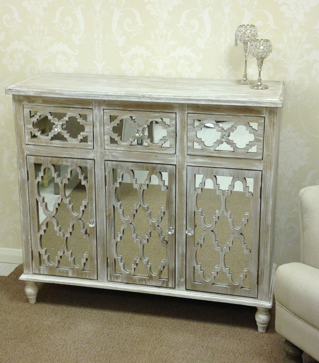 Captivating mirrored sideboard with knobs silver color and with decorative pattern design mirrored sideboard ideas