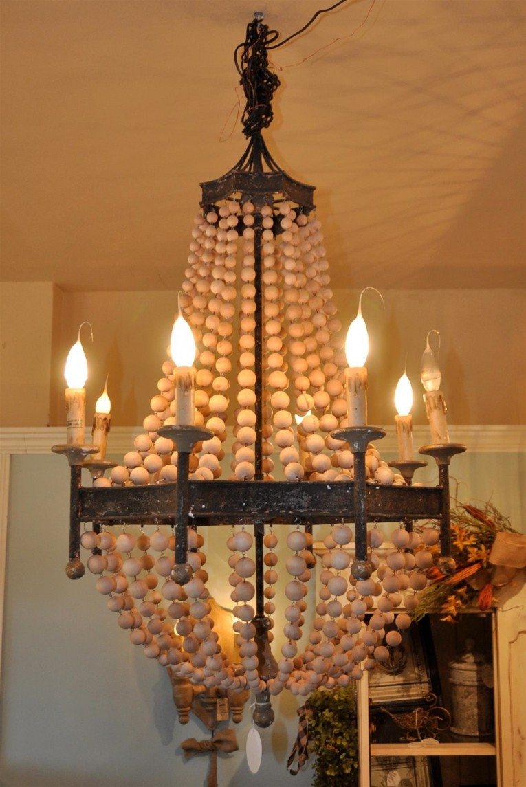 Captivating White Wood Bead Chandelier With Ceiling Light Fixture Furnishing For Living Room Ideas