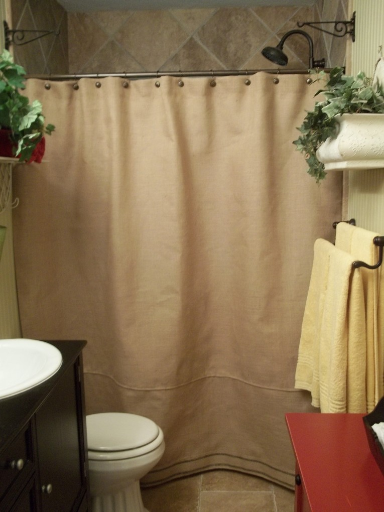 Charming Design Color Bathroom With Burlap Shower Curtain For Make Your Bathroom Interior More Awesome