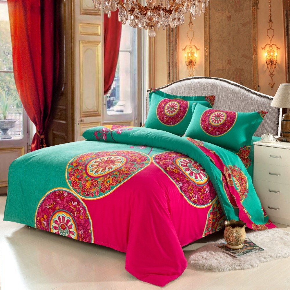 Charming Queen And King Bed Size Bohemian Duvet Covers With Unique Pattern For Bed Room Furniture Ideas