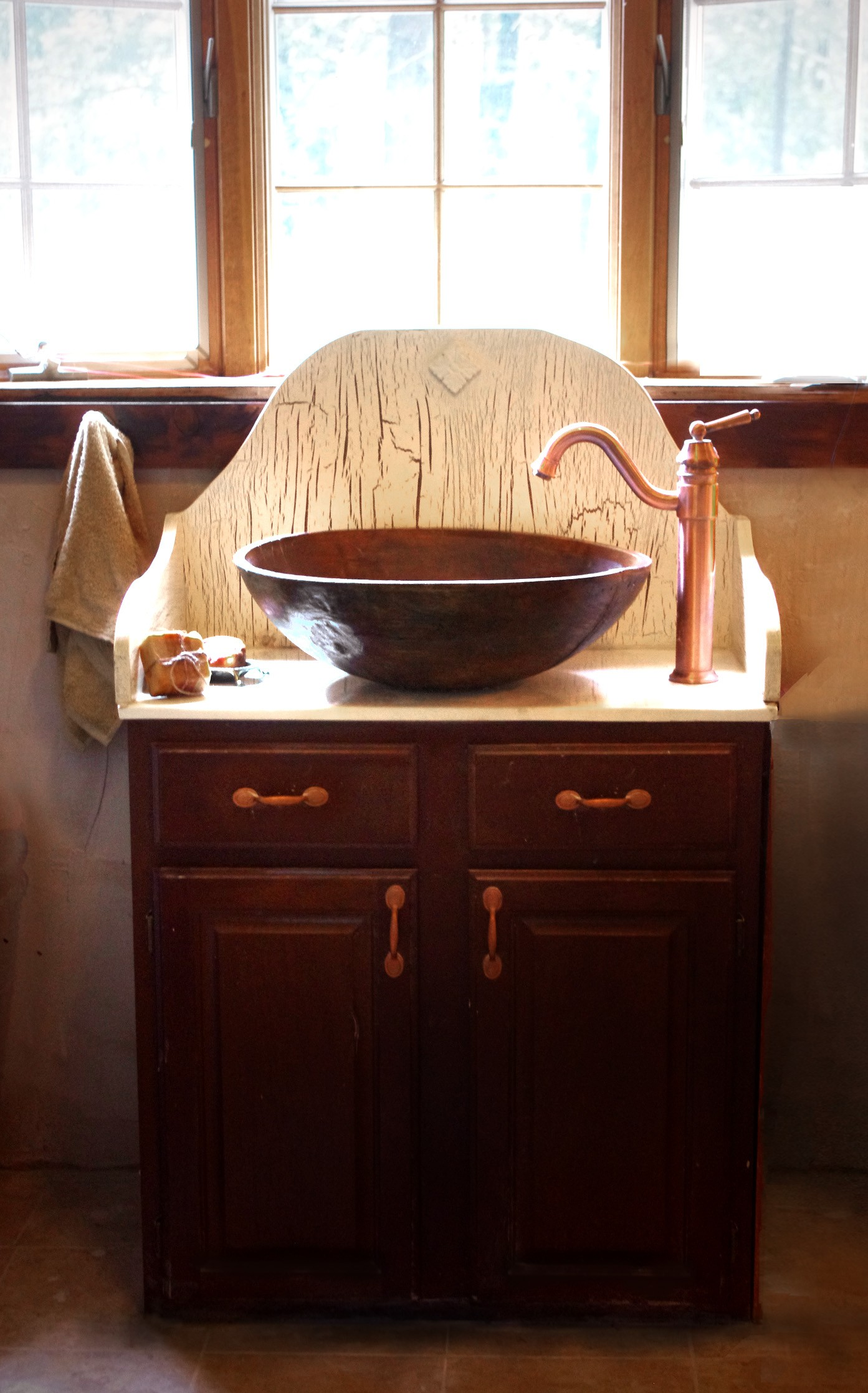 Charming copper vessel sinks with towel and faucets plus wastafel for bathroom ideas