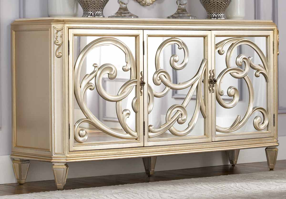 Charming mirrored sideboard with knobs silver color and with decorative pattern design mirrored sideboard ideas