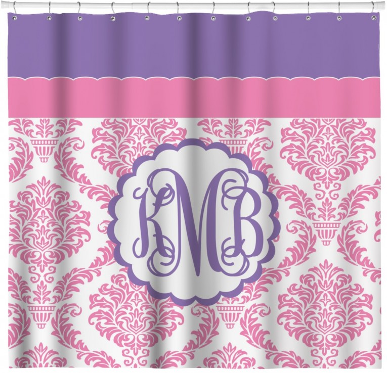 Charming Monogrammed Shower Curtain With Best Combination Color Design And Pattern Ideas