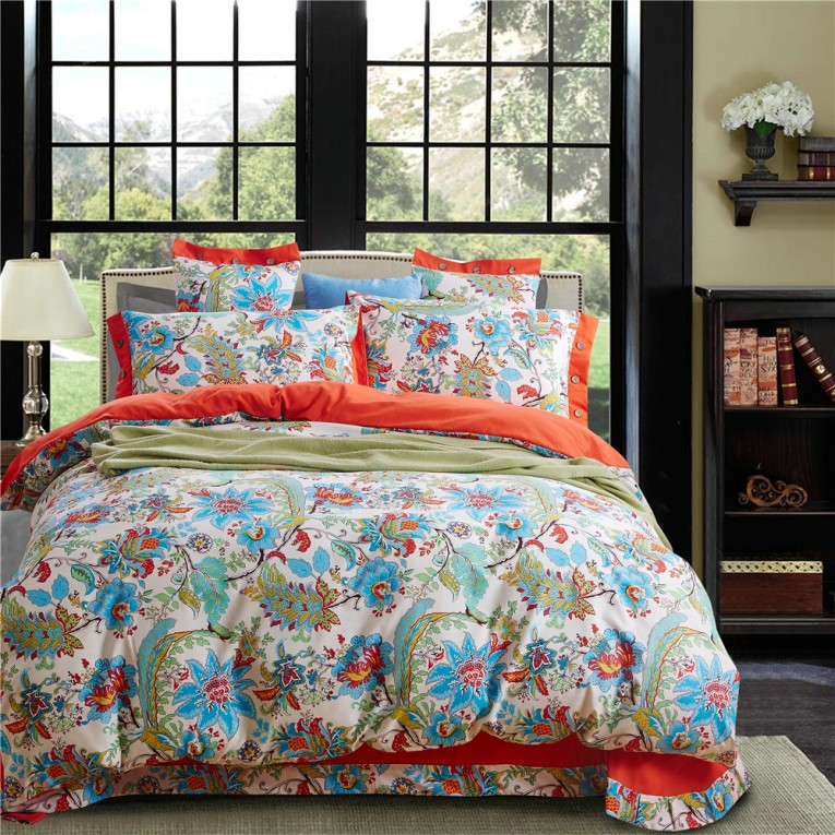 Chic Queen And King Bed Size Bohemian Duvet Covers With Unique Pattern For Bed Room Furniture Ideas
