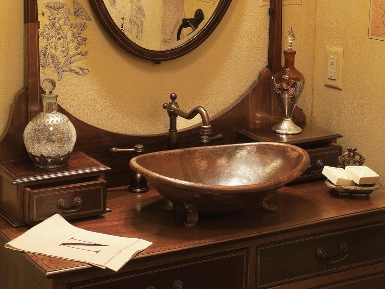Chic Copper Vessel Sinks With Towel And Faucets Plus Wastafel For Bathroom Ideas