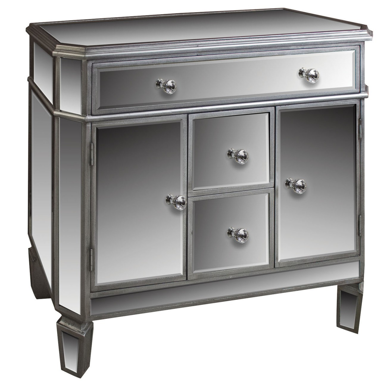 Chic mirrored sideboard with knobs silver color and with decorative pattern design mirrored sideboard ideas