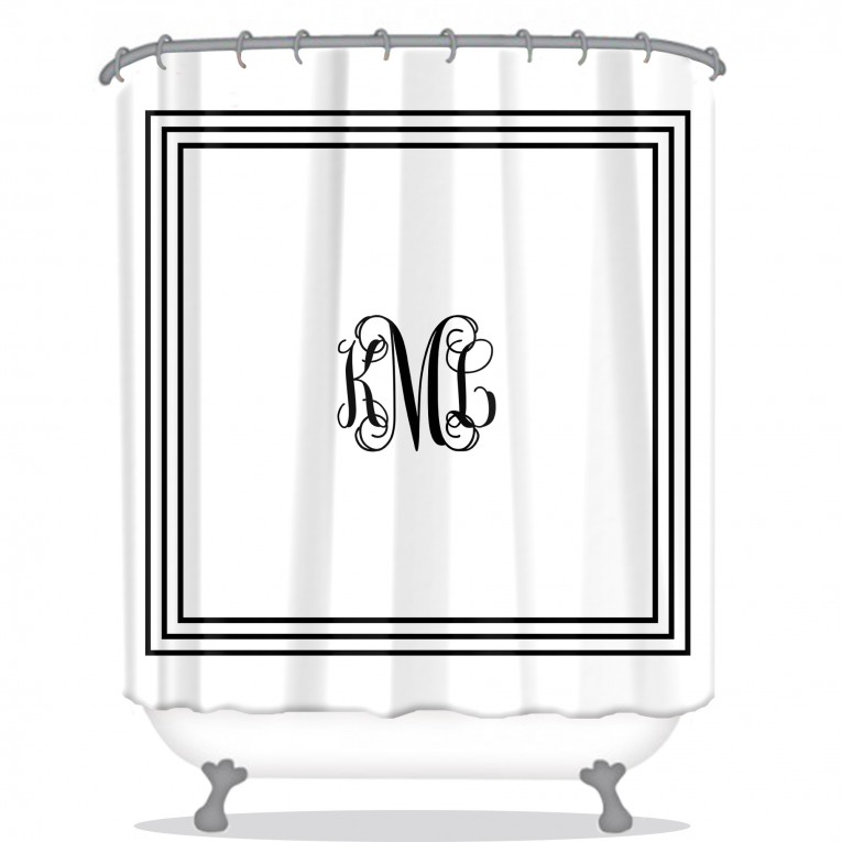 Classic Monogrammed Shower Curtain With Best Combination Color Design And Pattern Ideas