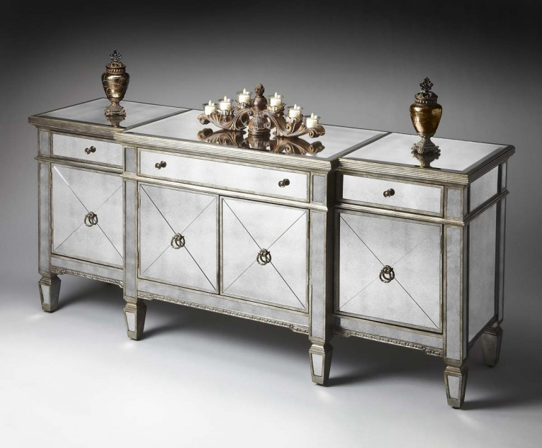 Classy Mirrored Sideboard With Knobs Silver Color And With Decorative Pattern Design Mirrored Sideboard Ideas