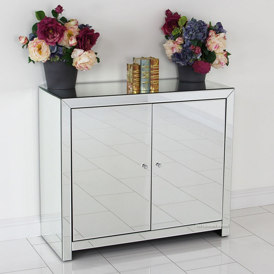 Cool mirrored sideboard with knobs silver color and with decorative pattern design mirrored sideboard ideas